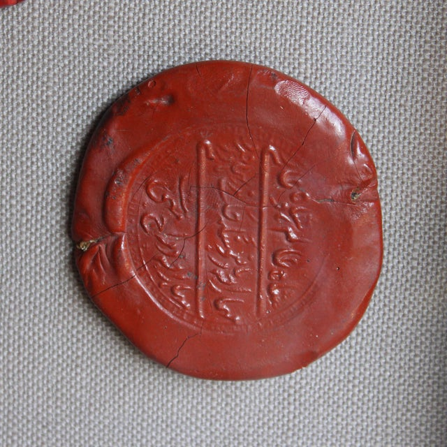 Mid 20th Century Framed Red Intaglio Wax Seals Collages - a Pair For Sale - Image 5 of 13