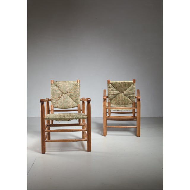 1950s Pair Charlotte Perriand 'model no. 21' lounge chairs France 1950s For Sale - Image 5 of 5
