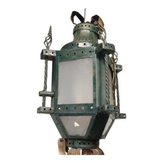 French Patinated Early 20th C. Iron Hanging Lantern