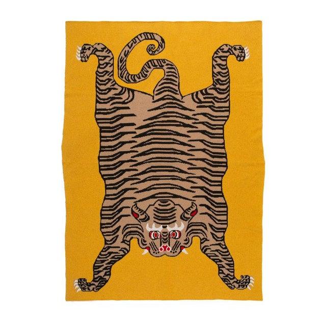 "Tiger Cashmere Blanket, Mustard, 51"" x 71"" For Sale - Image 4 of 4"