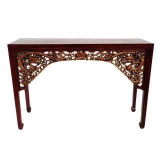 Carved Gold Dragon Console Table For Sale