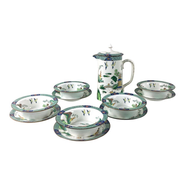 John Aynsley 1910s Asian Inspired English China Finger Bowls With Under Plates and Syrup Pitcher - 12 Piece Set For Sale