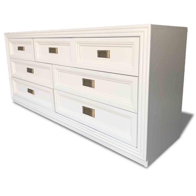 Mid-Century Modern Vintage Huntley Furniture Co. Campaign Style Dresser For Sale - Image 3 of 5