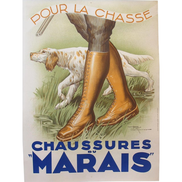 1930s French Art Deco Hunting Poster, Chaussures Du Marais For Sale