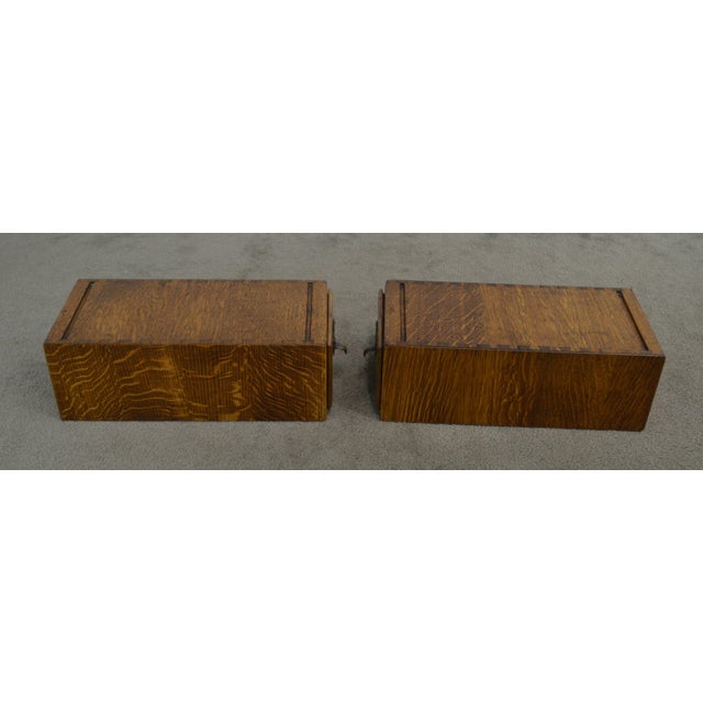Wood Antique Oak Pair of Desktop Library Card File Cabinets For Sale - Image 7 of 12