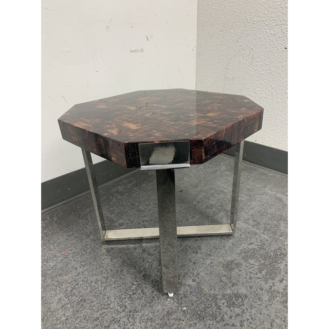 Palecek Palacek Shell + Chrome Side Table For Sale - Image 4 of 8