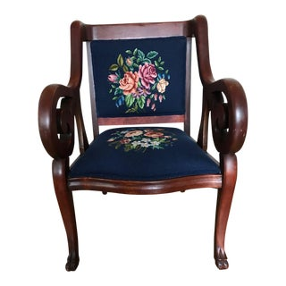 Antique Mahogany Needlepoint Accent Chair