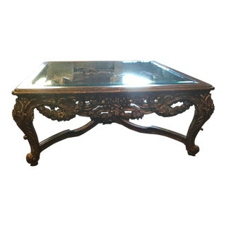 Aged Leaf Finish Rose Carved Coffee Table