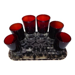 70s French Byzantine 1 Tray & 6 Ruby Goblets Set For Sale
