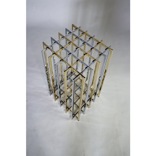 Pierre Cardin Mixed Chrome and Brass Grid Table For Sale - Image 9 of 10