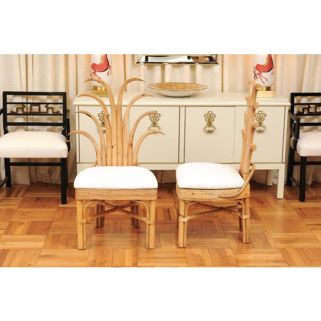 Wood Jaw-Dropping Set of 8 Custom Made Palm Frond Dining Chairs, Circa 1950 For Sale - Image 7 of 13