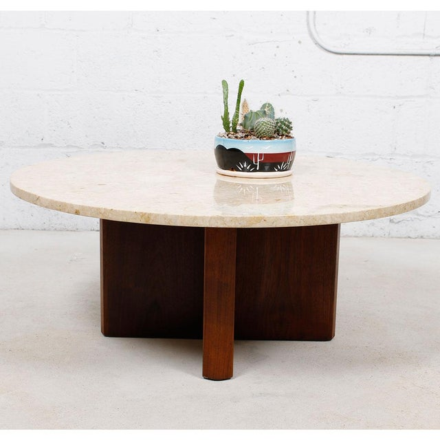 """Travertine Marble Top Coffee Table with """"X"""" Base - Image 4 of 9"""