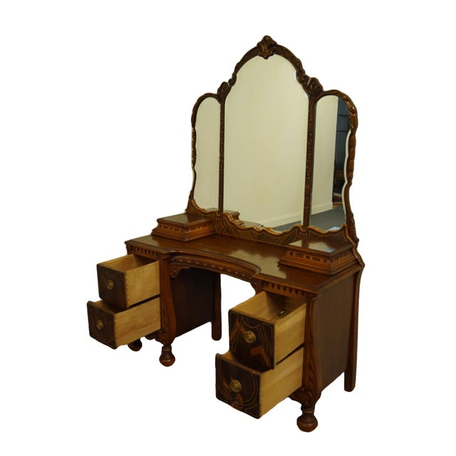 """Brown Bassett Furniture French Regency Style 47"""" Vanity With Mirror For Sale - Image 8 of 13"""
