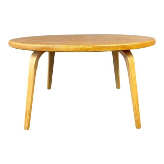 Round Thonet Cork Top Coffee Table, Circa 1950s For Sale