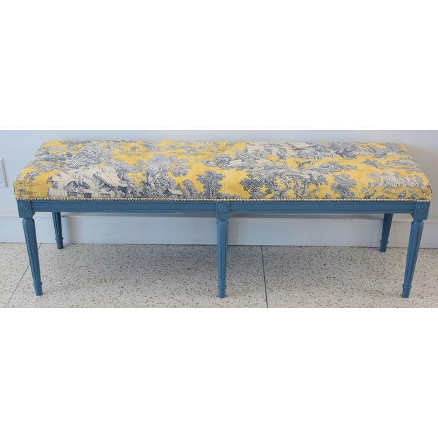 French-Style Yellow, White & Blue-Gray Toile Bench For Sale - Image 13 of 13