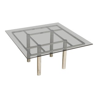Mid Century Tobia Scarpa for Knoll Andre Square Glass & Chrome Dining Table For Sale