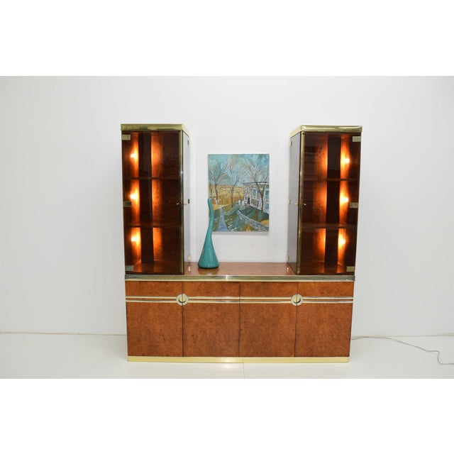 Art Deco 1970s Pierre Cardin Signed Burl Wood Sideboard With Two Tower Cabinets, France For Sale - Image 3 of 13