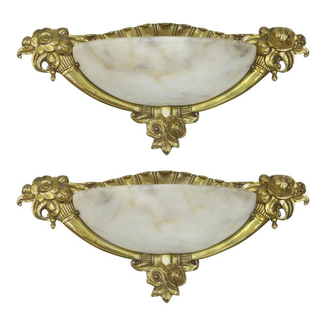 French Art Deco Bronze or Alabaster Sconces -A Pair For Sale