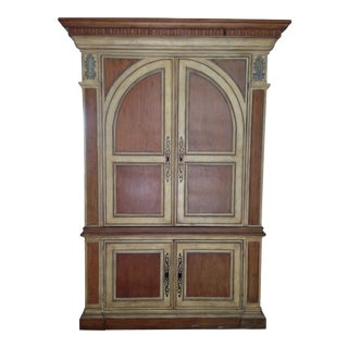 Rustic Solid Wood With Crown Molding and Brass Hardware TV-Armoire For Sale
