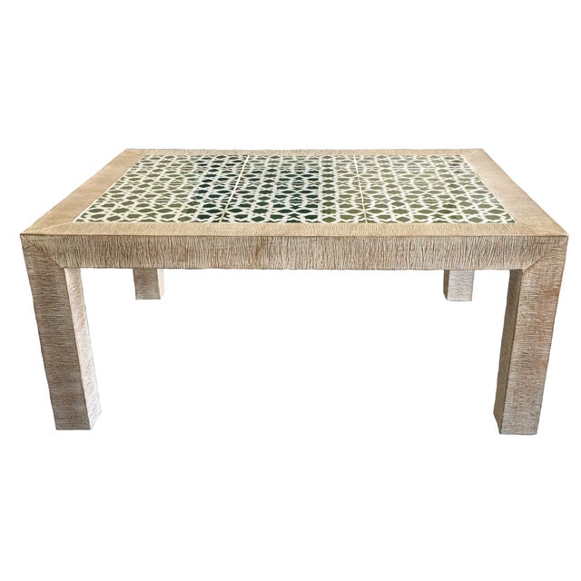 Mid-Century Combed Wood And Tile Cocktail Table - Image 1 of 7