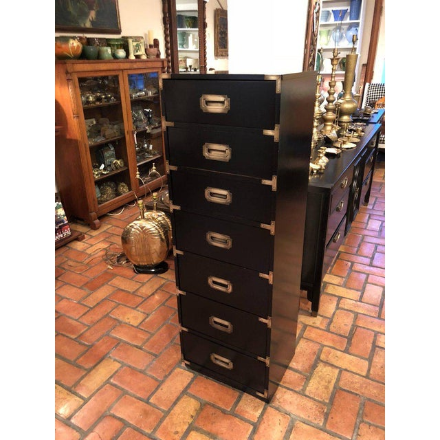 Black Campaign Brass Accent Highboy Chest For Sale In New York - Image 6 of 11