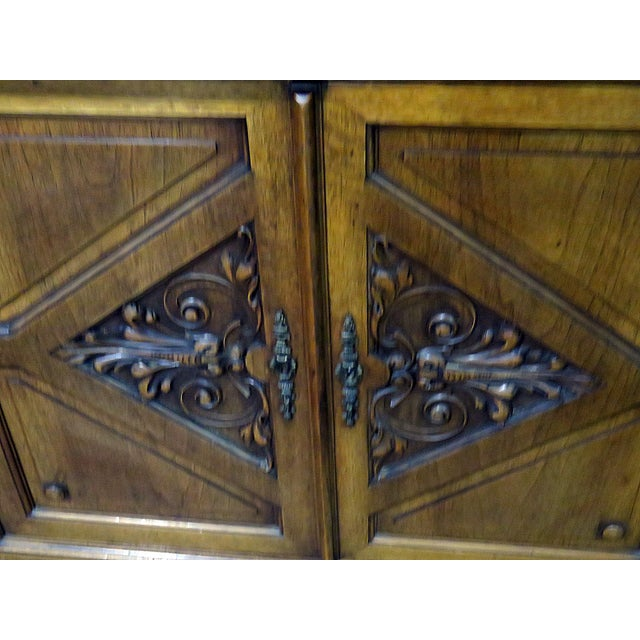 Early 20th Century Early 20th Century Antique Renaissance Style China Cabinet - 2 Pieces For Sale - Image 5 of 6