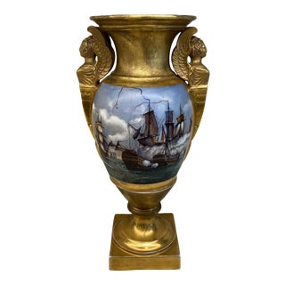Antique French Hand Painted Gold Gilt Vase Depicting Ships in Battle For Sale