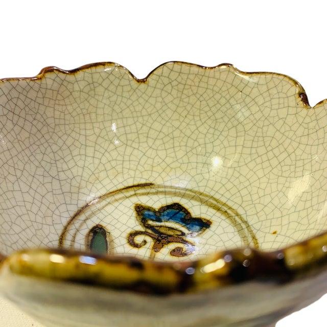 Vintage Studio Pottery Japanese Artist Signed Crackle Glaze Iris Bowl For Sale - Image 4 of 6