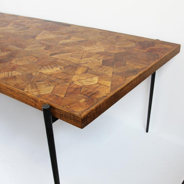 Wood hexagon inlay dining table chairish Where can i buy reclaimed wood near me