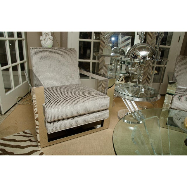 Pair of spectacular stainless steel armchairs by Thayer Coggin with gray upholstery