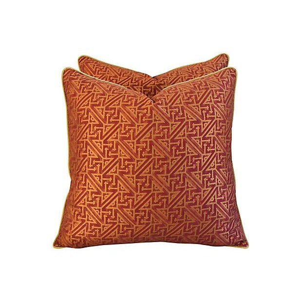 Custom Italian Mariano Fortuny Simboli Feather/Down Pillows - Pair - Image 6 of 10