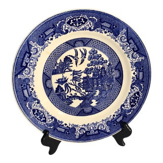 1930s Blue Willow Fine Bone China, Antique Small Plates - Set of 6 For Sale