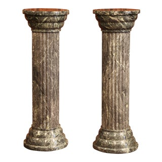 Mid-20th Century Italian Carved Green Marble Display Pedestals - a Pair