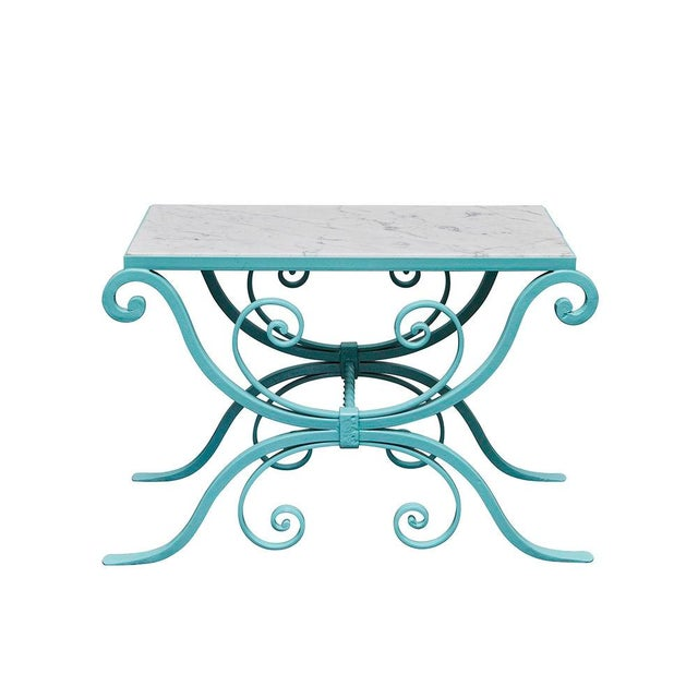 Turquoise Wrought Iron Table With Marble Top For Sale - Image 8 of 8