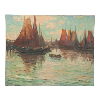 "Early 20th Century ""Last Rays"" Oil Painting by Charles-Claude Houssard For Sale"