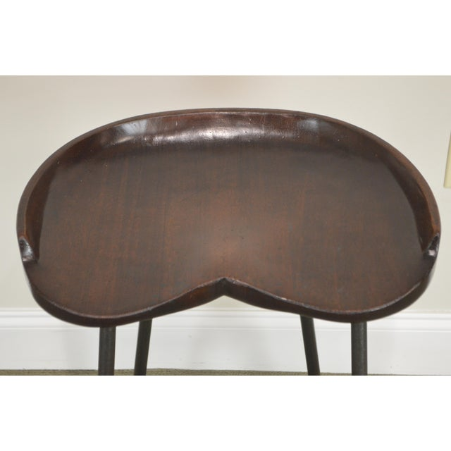 Custom Quality Solid Wood Seat Pair of Iron Backless Bar Stools For Sale - Image 4 of 13