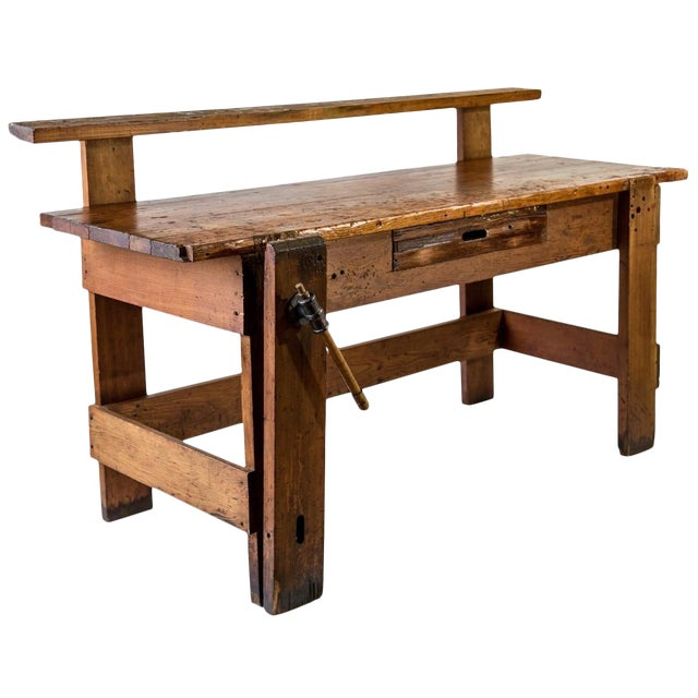 Rustic Carpenter's Workbench Sideboard For Sale