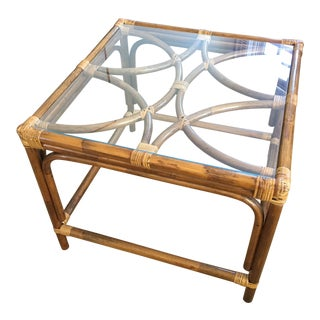 Boho Chic Mersman Bamboo and Glass Side Table For Sale
