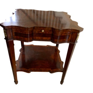 1980s Regency Mahogany Serpentine, Sienna Leather Sides Side Table For Sale