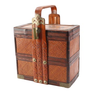 Tall Vintage Chinese Brass Bound Wooden Locking Box Set For Sale