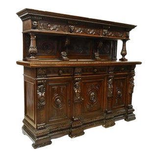 Early 1900s Antique Italian Renaissance Revival Carved Sideboard For Sale