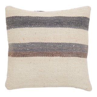 Organic Wool Striped Pillow Cases Fashioned Out of a Mid-20th Century Anatolian Kilim, For Sale