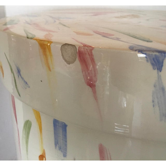 Italian Hand Painted Ceramic Stool - Image 6 of 7