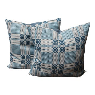 19th Century Woven Jacquard Coverlet Pillows For Sale
