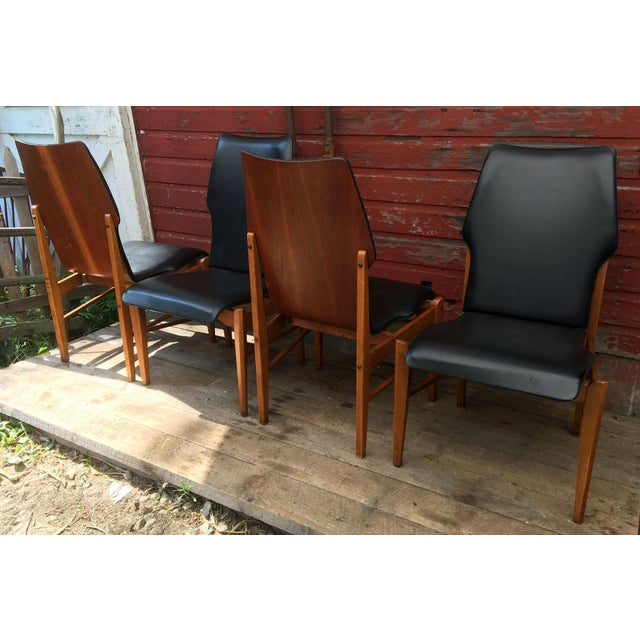 Lane Furniture Set of 4 Mid Century Modern Lane High Back Walnut Dining Chairs For Sale - Image 4 of 11
