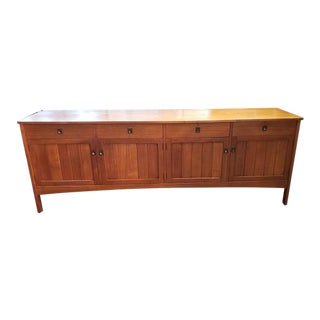Mid-Century Modern Teak Credenza W/ Paneled Front C.1960s For Sale
