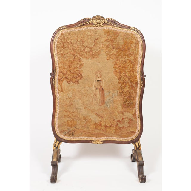 Antique French Needlepoint and Parcel Giltwood Fire Screen For Sale - Image 12 of 12