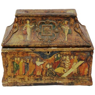 19th Century Rustic Wooden Church Collection Offering Donation Money Box For Sale