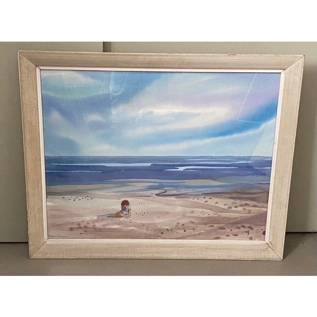 Mid 20th Century Floridian Seascape Watercolor Painting by Shirley Clement, Framed For Sale - Image 9 of 9