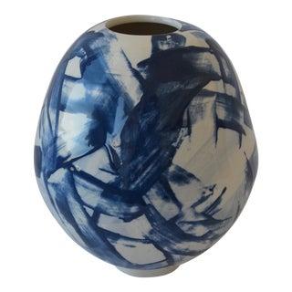 Contemporary Ceramic Cobalt Brushed Slip Vessel For Sale